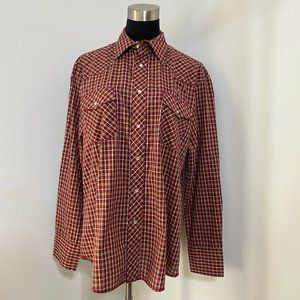 Wrangler Shirt Men's L Red Brown Beige Snap Front